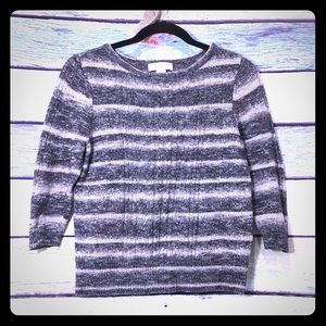 Christopher & Banks Striped Crew Neck Knit Sweater